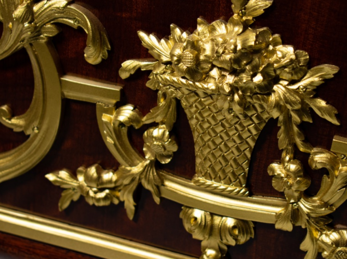 detail on metal plating on piano